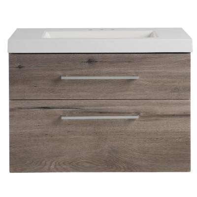 Larissa 31 in. W x 19 in. D Wall Hung Bathroom Vanity Washed Oak with Cultured Marble Vanity Top in White with Sink