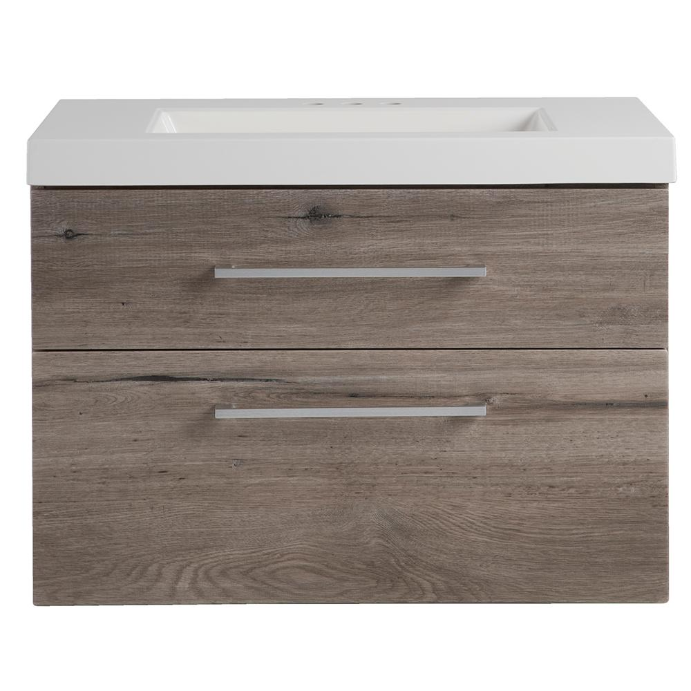 W Wall Hung Vanity In White Washed Oak With Cultured Marble