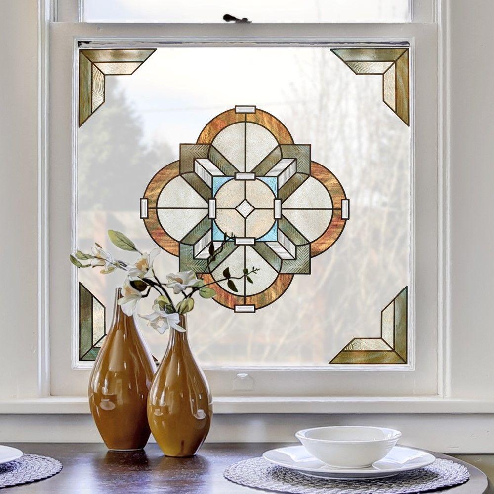 12 in. x 12 in. Newport Amber Medallion Decorative Window Film