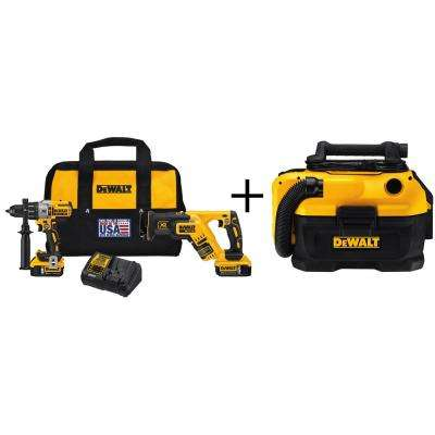 20-Volt MAX XR Lithium-Ion Cordless Brushless Premium Drill/Reciprocating Saw Combo Kit (2-Tool) with Bonus Wet/Dry Vac