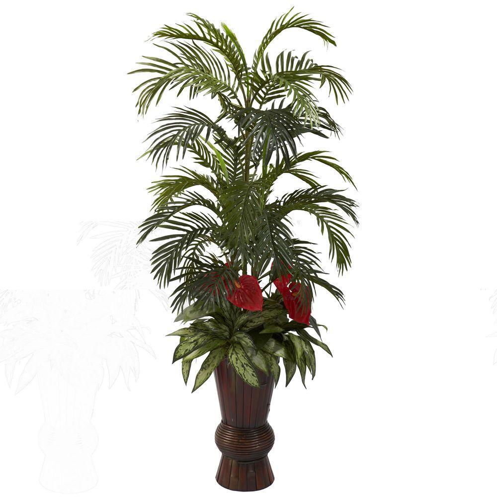 Nearly Natural Areca and Mixed Greens with Bamboo Planter
