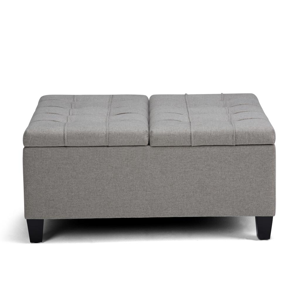 Harrison 36 in. Traditional Square Storage Ottoman in Dove Grey Linen Look Fabric