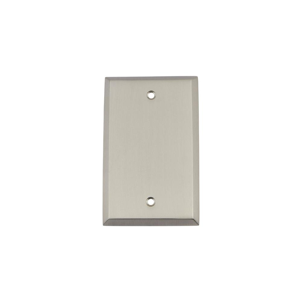 New York Switch Plate with Blank Cover in Satin Nickel