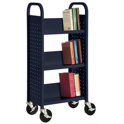 46 in. Navy Metal 3-shelf Cart Bookcase with Locking