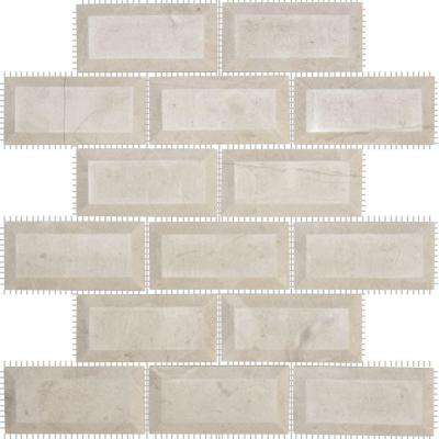 Creama 2 x 4 Beveled 12 in. x 12 in. x 10 mm Marble Mosaic Wall Tile