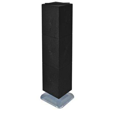 64 in. H x 14 in. W Styrene Pegboard Tower Floor Display on Revolving Base in Black