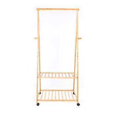 30 in. x 13 in. Wood Color 2-Tiers 4-Wheeled Clothes Hanger Garment Rack