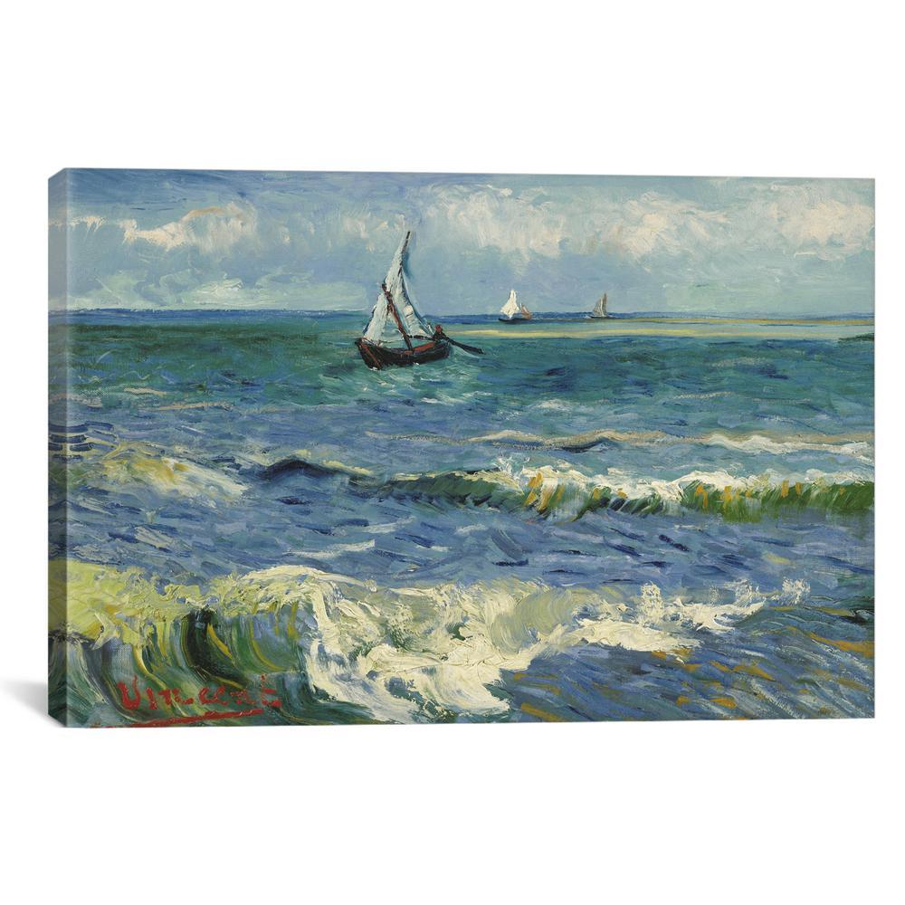 Icanvas Seascape Near Les Saintes Maries De La Mer By Vincent Van Gogh Wall Art 14386 1pc3 40x2 The Home Depot