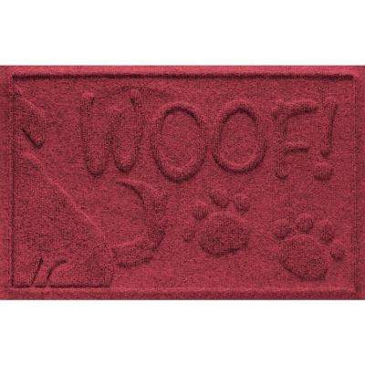 Red Black 18 in. x 28 in. Wag the Dog Polypropylene Pet Mat