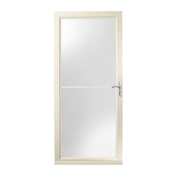 36 in. x 80 in. 3000 Series Almond Right-Hand Self-Storing Easy Install Aluminum Storm Door with Nickel Hardware