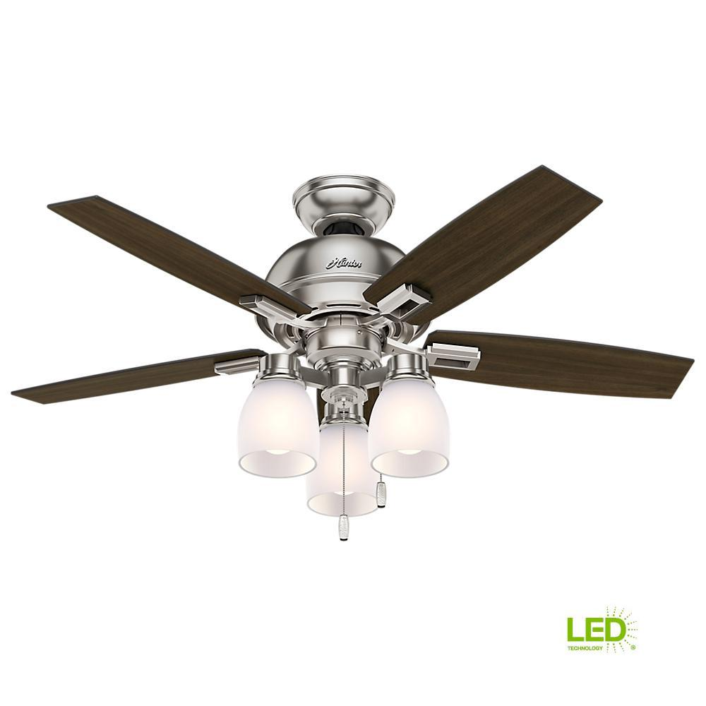 Hunter Ceiling Fans Lighting The Home Depot 3 Way Wiring Diagram Fan Led Light Indoor Brushed Nickel