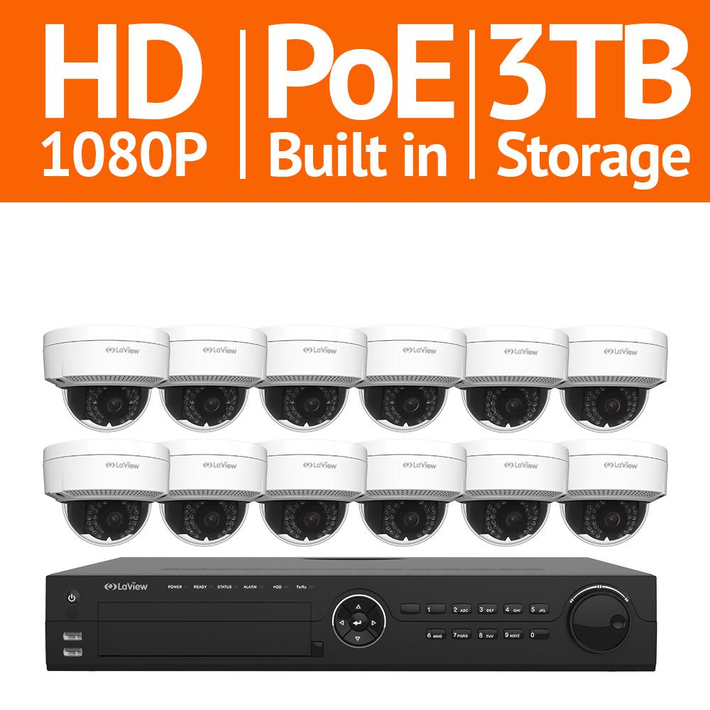 LaView 16-Channel Full HD IP Indoor/Outdoor Surveillance 3TB NVR System (12) Dome 1080P Cameras Remote View Motion Record