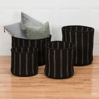 Essentia 16 in. x 16 in. x 18 in. Black Round Polypropylene Braided Basket