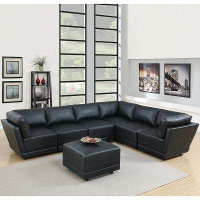 7-Piece Black Bonded Leatherette Modular Sectional Set with Ottoman