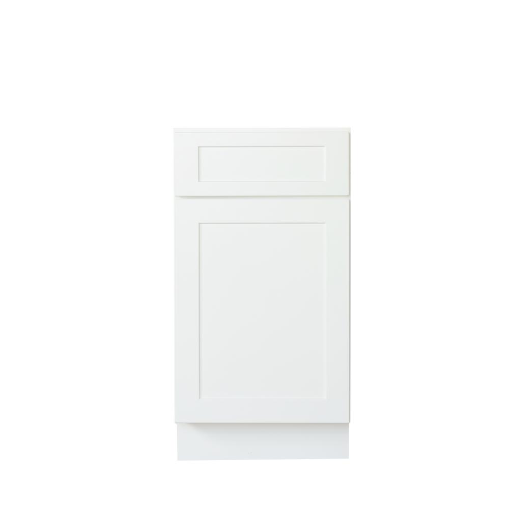 Bremen Ready To Assemble 15x34.5x24 In. Shaker Base Cabinet With 1 Door And  1 Drawer In White SW B15   The Home Depot
