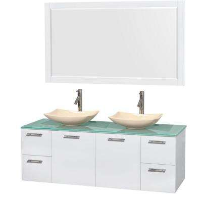 Amare 60 in. Double Vanity in Glossy White with Glass Vanity Top in Green, Marble Sinks and 58 in. Mirror