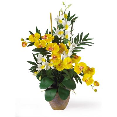 29 in. Double Phalaenopsis and Dendrobium Silk Flower Arrangement in Yellow and Cream
