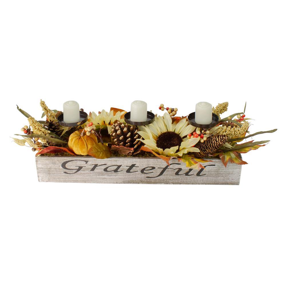 10 in. Autumn Harvest Sunflower in a Grateful Rustic Wooden Box Centerpiece Candle Holder (3-Piece)