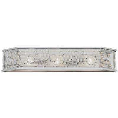 Fascination 3-Light Metallic Silver with Recycled Clear Glass Hex Bath Light