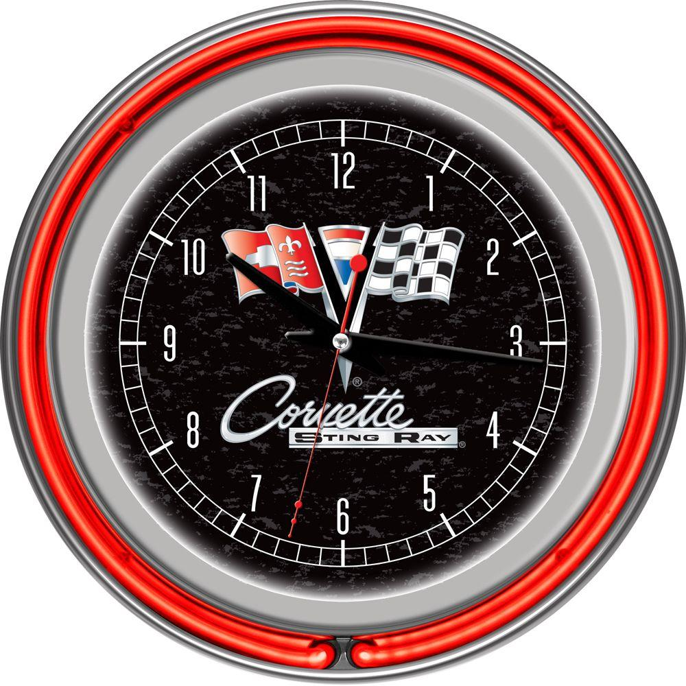 14 in. Corvette C2 Black Chrome Double Ring Neon Wall Clock
