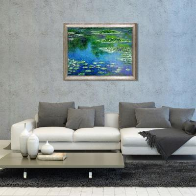 "46 in. x 36 in. ""Water Lilies with Versailles Silver King Frame"" by Claude Monet Framed Wall Art"