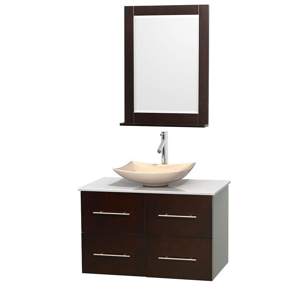Wyndham Collection Centra 36 in. Vanity in Espresso with Solid-Surface Vanity Top in White, Ivory Marble Sink and 24 in. Mirror
