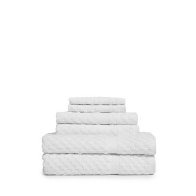 Waffle 6-Piece 100% Cotton Bath Towel Set in White