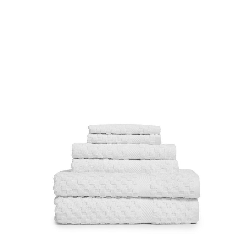 Waffle 6-Piece White Solid Bath Towel Set