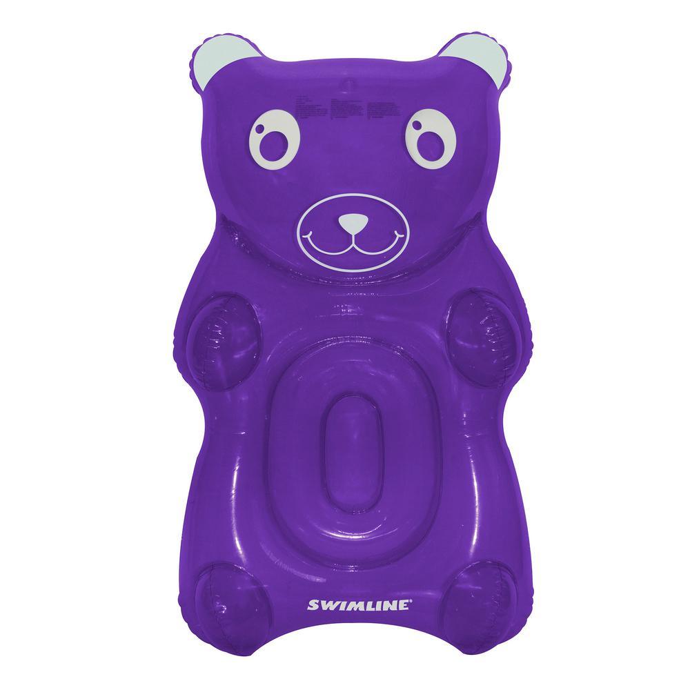 Purple Vinyl GummyBear Float Inflatable Pool Lounger with Headrest