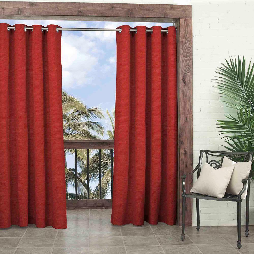 52 in. W x 108 in. L Key Largo Solid Room Darkening Olefin Window Curtain Panel in Chili