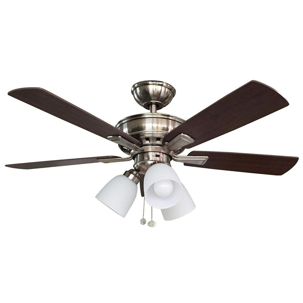 Hampton bay vaurgas 44 in led indoor brushed nickel Home depot kitchen ceiling fans