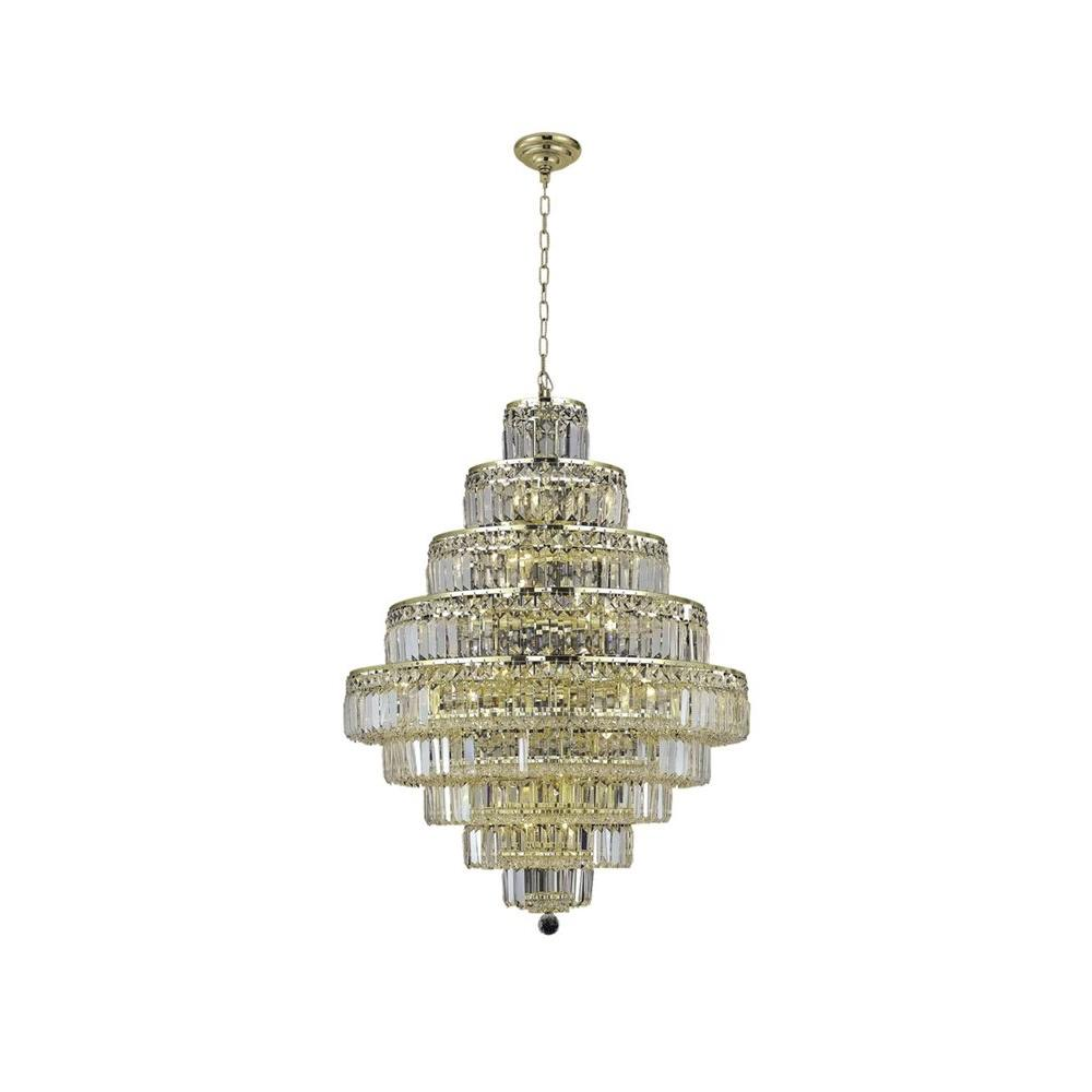 20-Light Gold Chandelier with Clear Crystal