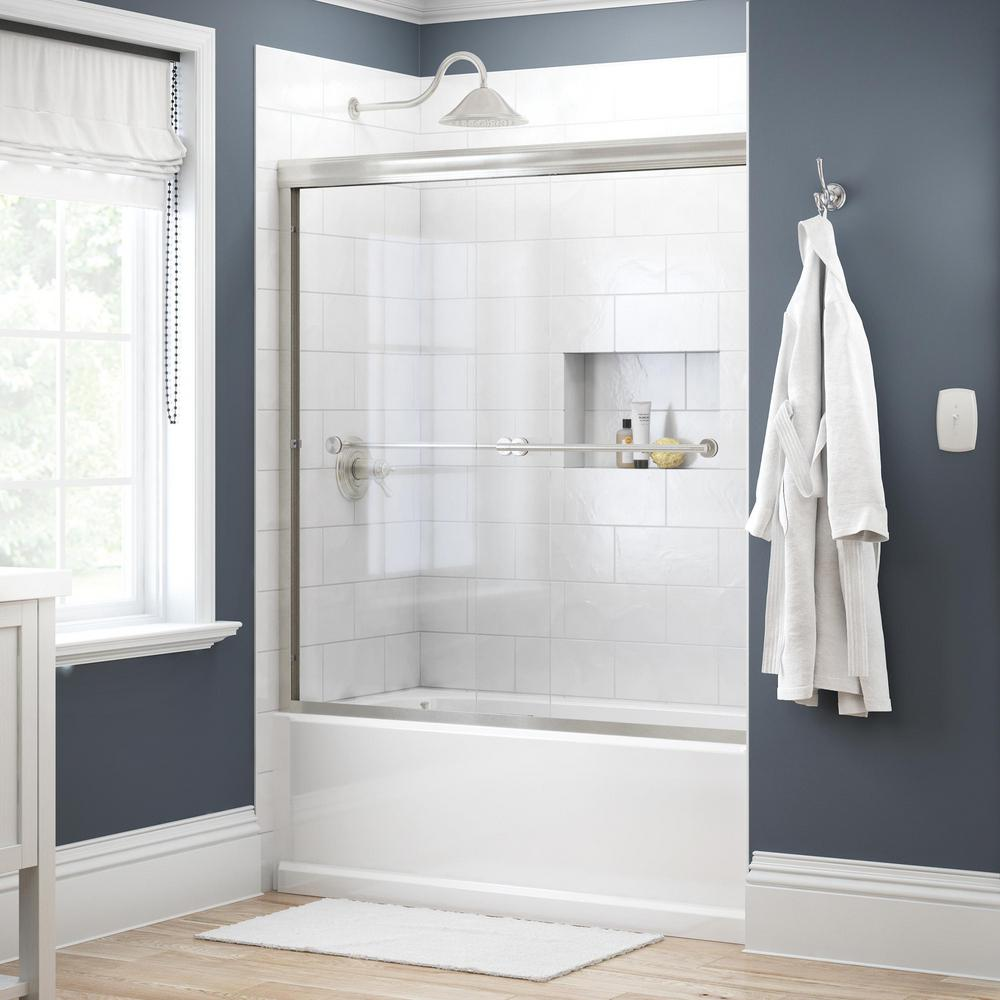 Delta Lyndall 60 In X 58 1 8 In Semi Frameless Traditional Sliding Bathtub Door In Nickel With Clear Glass 158727 The Home Depot