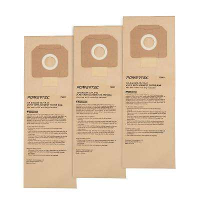 10 Gal. High Efficiency Filter Bags for D27904 and Porter-Cable 7812 Dust Extractors (3-Pack)
