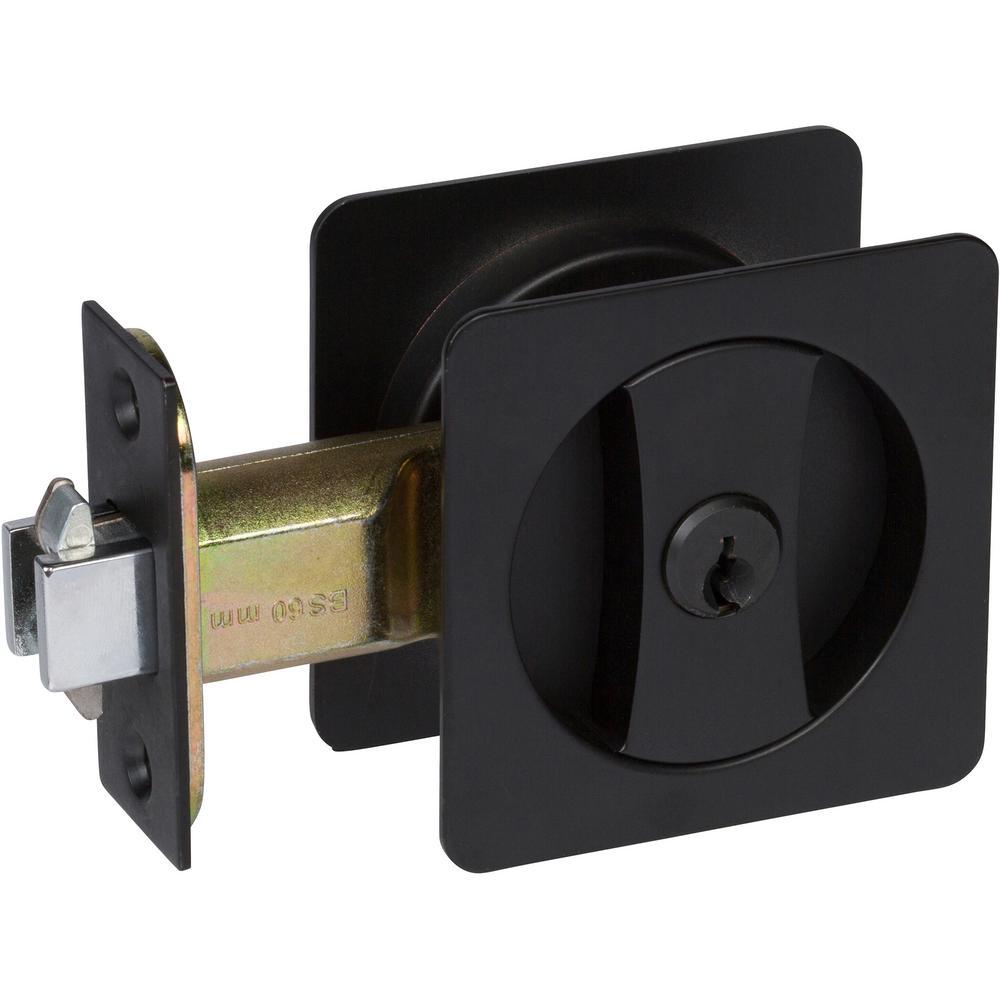 Contemporary Square Black Entry Door Sliding Pocket Door Lock