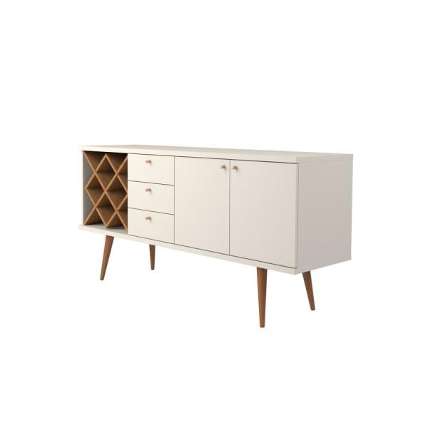 Manhattan Comfort - Utopia Off-White and Maple Cream 4-Bottle Wine Rack Sideboard Buffet Stand with 3-Drawers and 2-Shelves