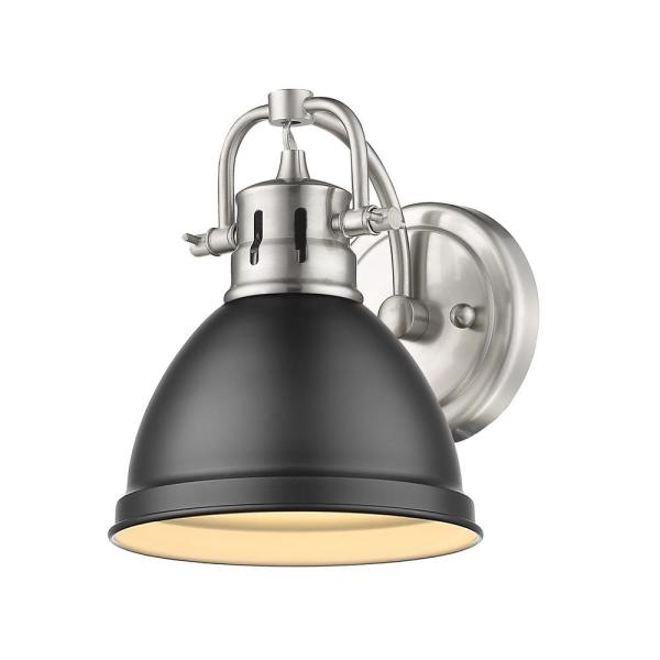 Duncan Collection Pewter 1-Light Bath Sconce Light with Matte Black Shade