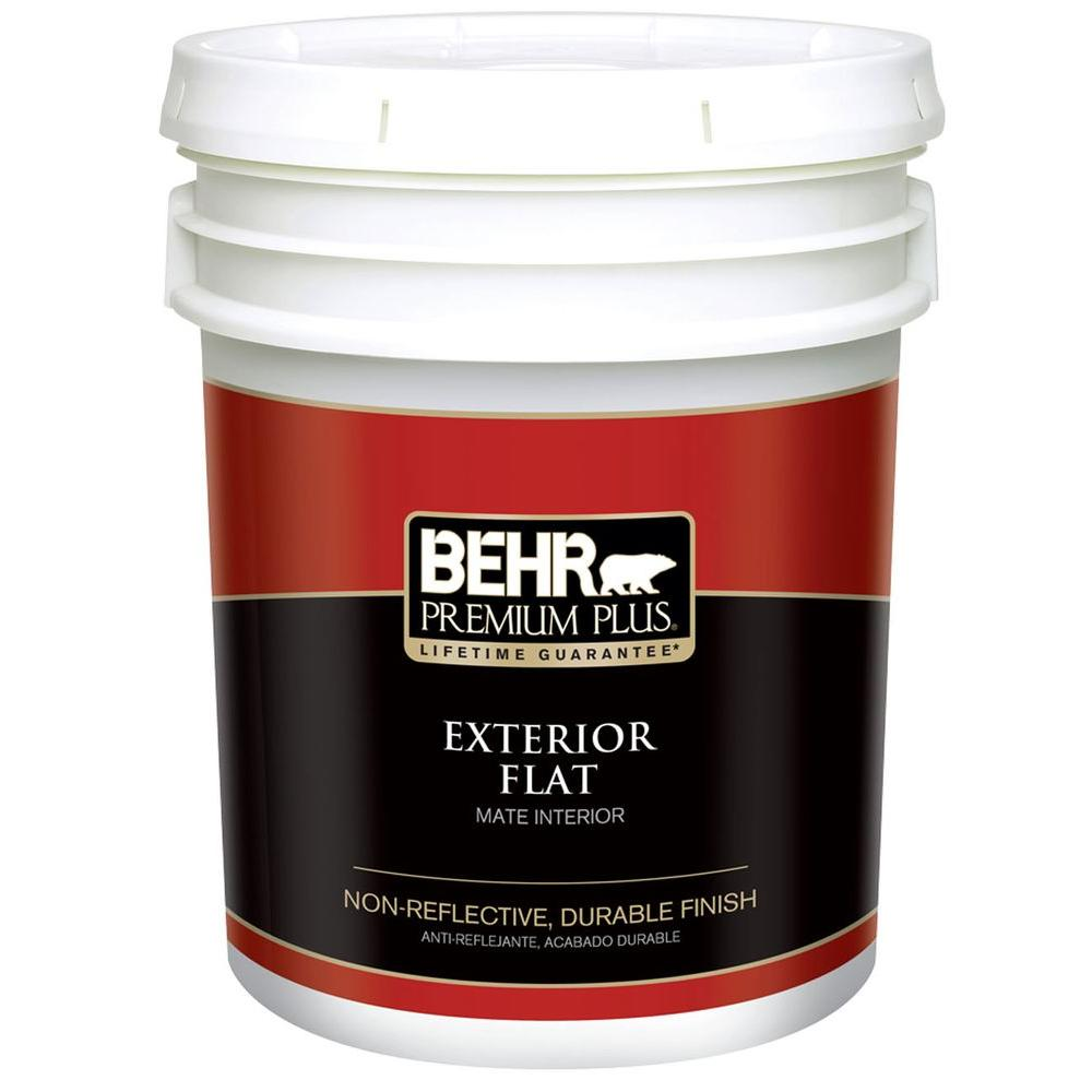 Behr Premium Plus 5 Gal Ultra Pure White Flat Exterior Paint 405005 The Home Depot