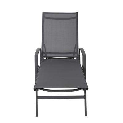 Grey 1-Piece Aluminum Outdoor Chaise Lounge