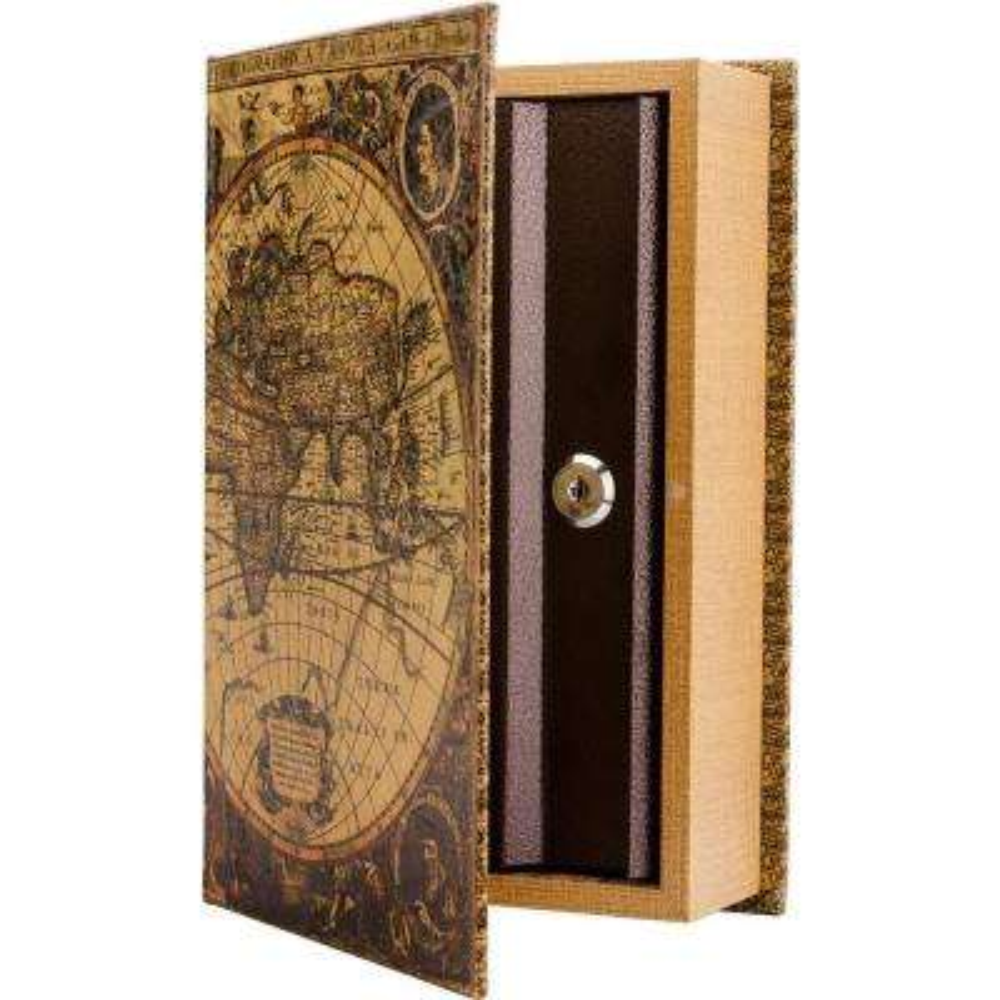 0.06 cu. ft. Antique Map Steel Book Lock Box Safe