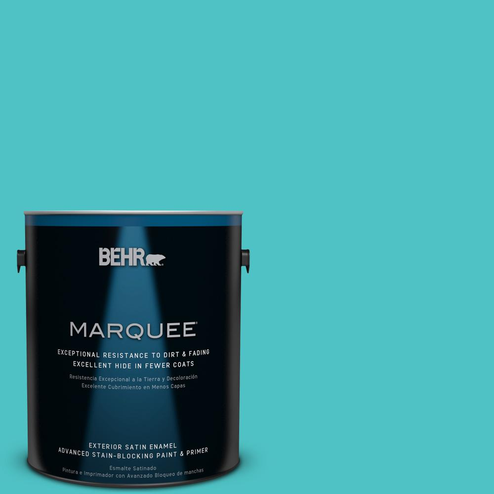 BEHR MARQUEE 1-gal. #500B-4 Gem Turquoise Satin Enamel Exterior Paint