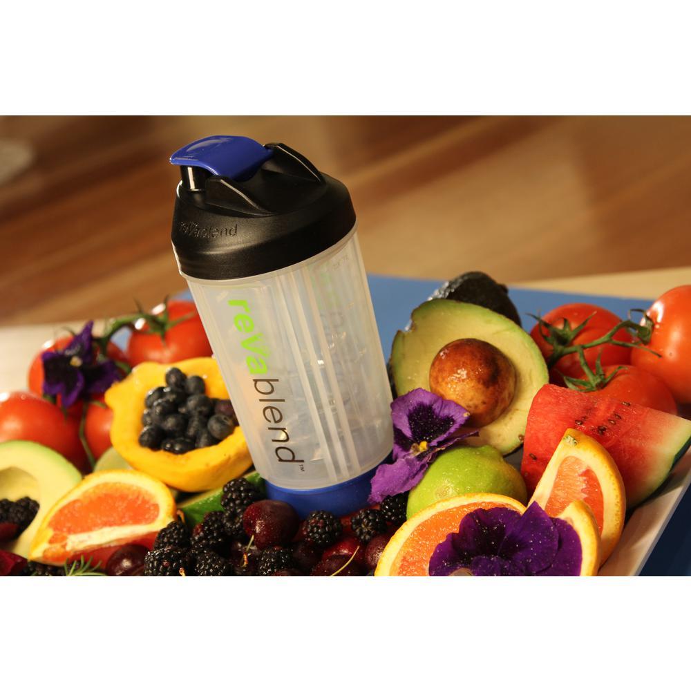 Revablend Bpa Free Polypropylene 16 Oz Blue Hand Powered Blender Shake And Take 3 2 Bottle