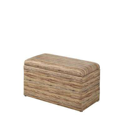 Beige Multicolor Leatherette Marble Pattern Storage Ottoman