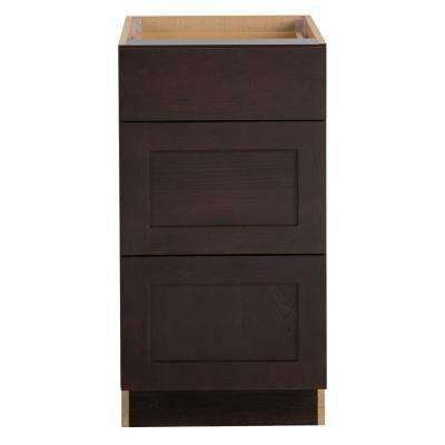 Cambridge Assembled 18x34.5x24.625 in. Base Cabinet with 3-Soft Close Drawers in Dusk