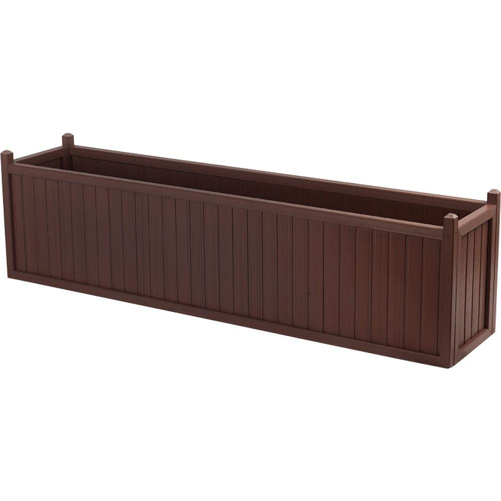 null 69 in. x 16 in. Smoke All Weather Composite Planter