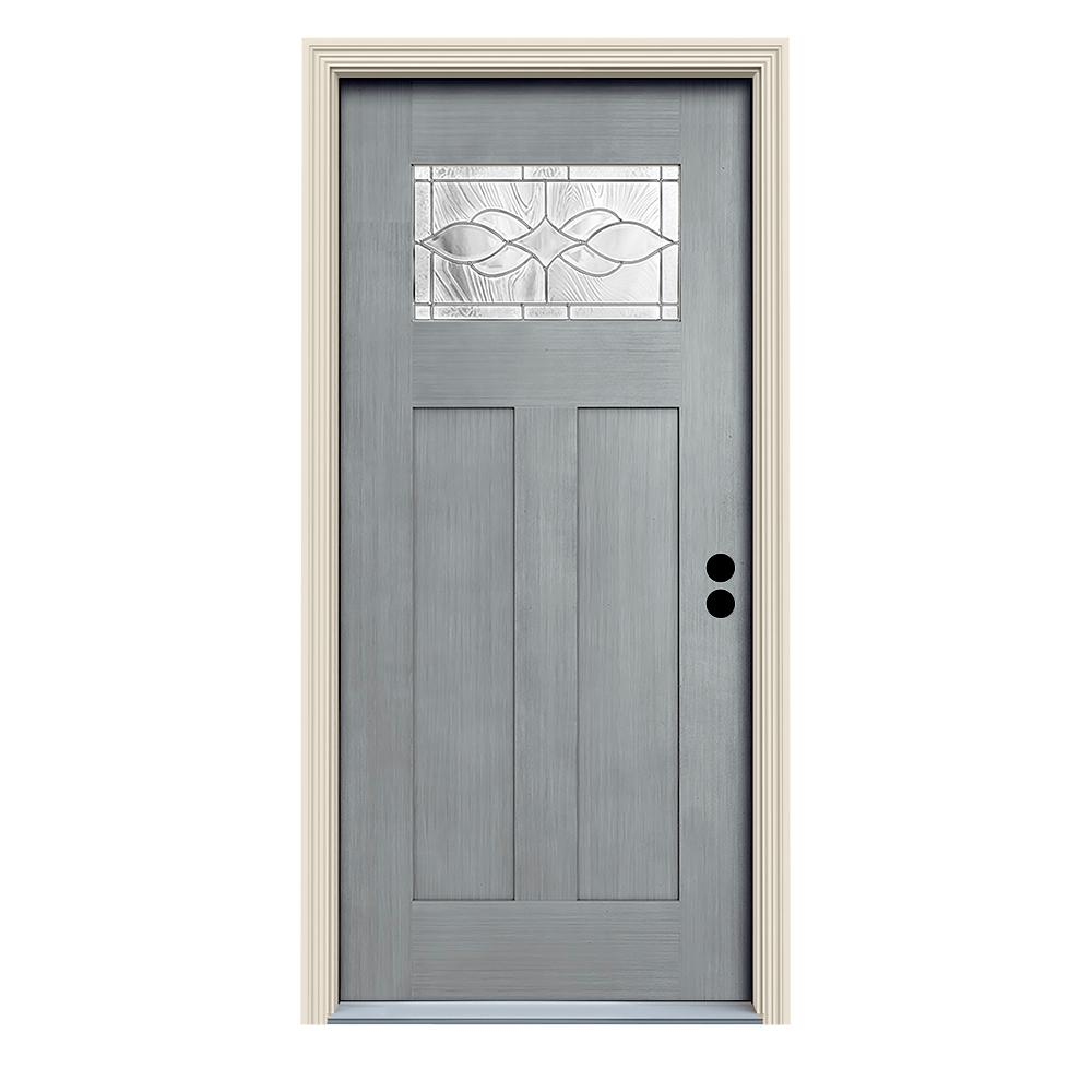 JELD-WEN 36 in. x 80 in. Stone Left-Hand 1-Lite Craftsman Carillon Stained Fiberglass Prehung Front Door with Brickmould
