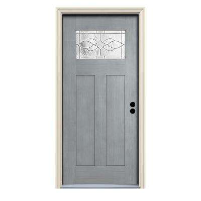 36 in. x 80 in. Stone Left-Hand 1-Lite Craftsman Carillon Stained Fiberglass Prehung Front Door with Brickmould