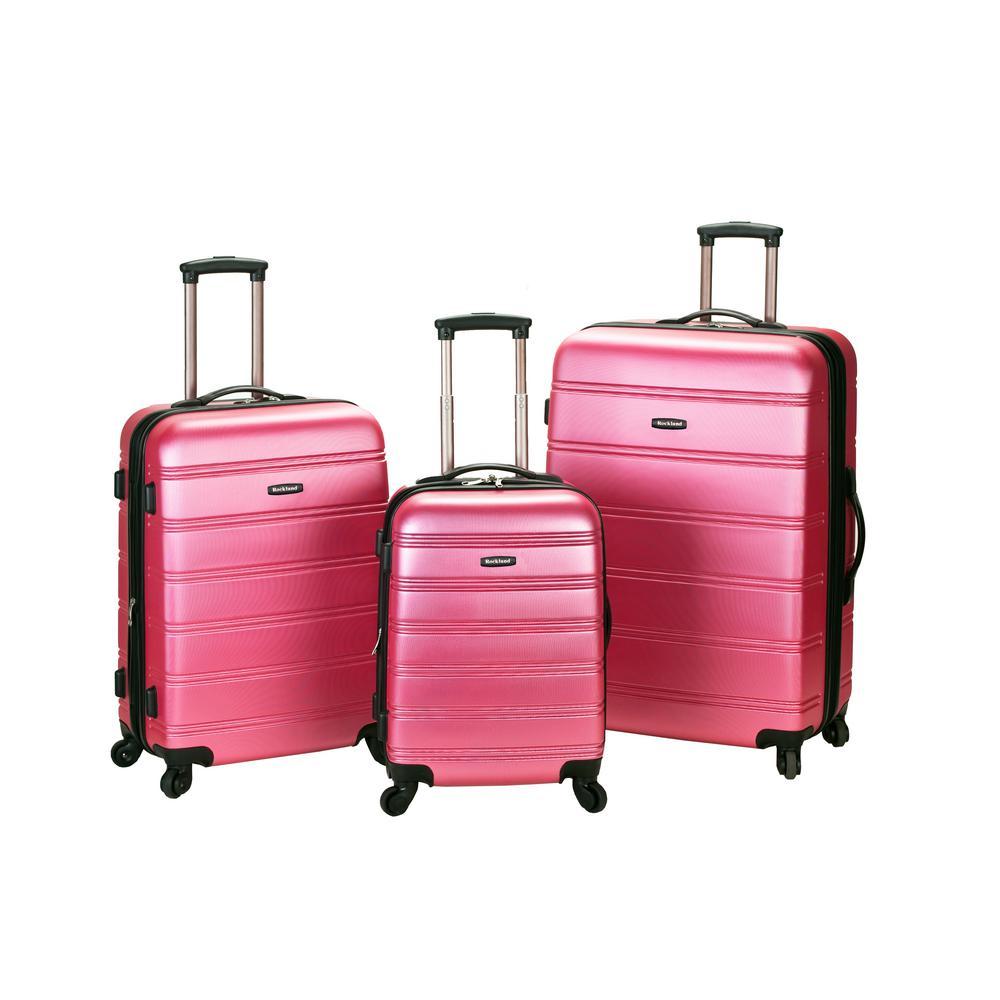Rockland Melbourne 3-Piece Hardside Spinner Luggage Set, Pink