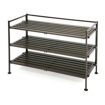 3 Tier Espresso Resin Slat Utility Shoe Rack