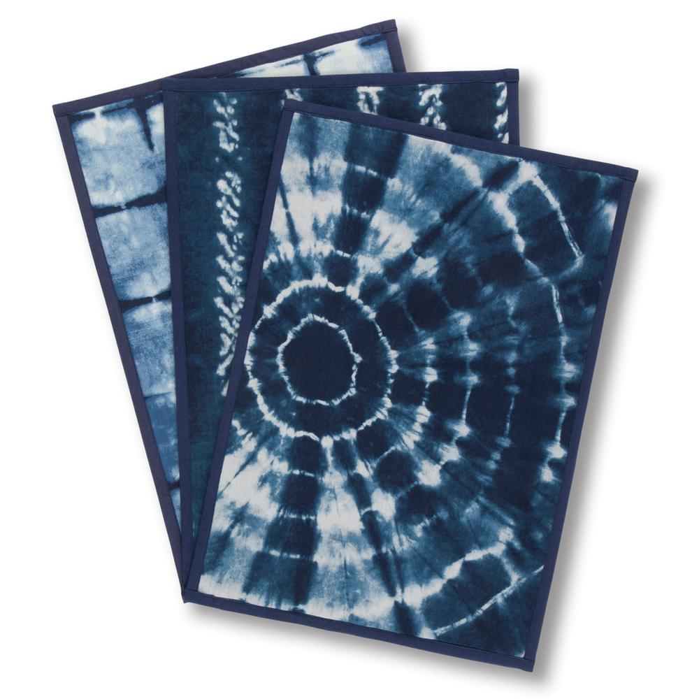 Gerson Assorted Indigo Ink Placemats (Set of 6), Blue